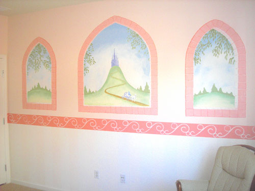 Pied piper designs murals for children kids bedroom for Castle mural kids room