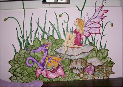 Pied piper designs murals for children kids bedroom for Fairy garden mural